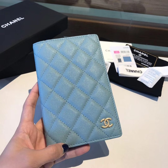 Chanel Calfskin Leather & Gold-Tone Metal Wallet A80385 Light Sky Blue