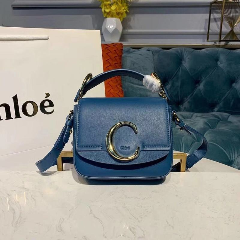 Chloe Original Calfskin Leather Top Handle Small Bag 3S030 Blue