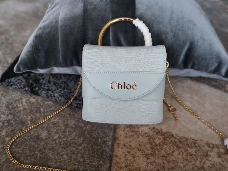 Chloe Small Aby Lock Chain Bag in Embossed Lizard Effect on Calfskin & Goatskin 3S035 Light Blue