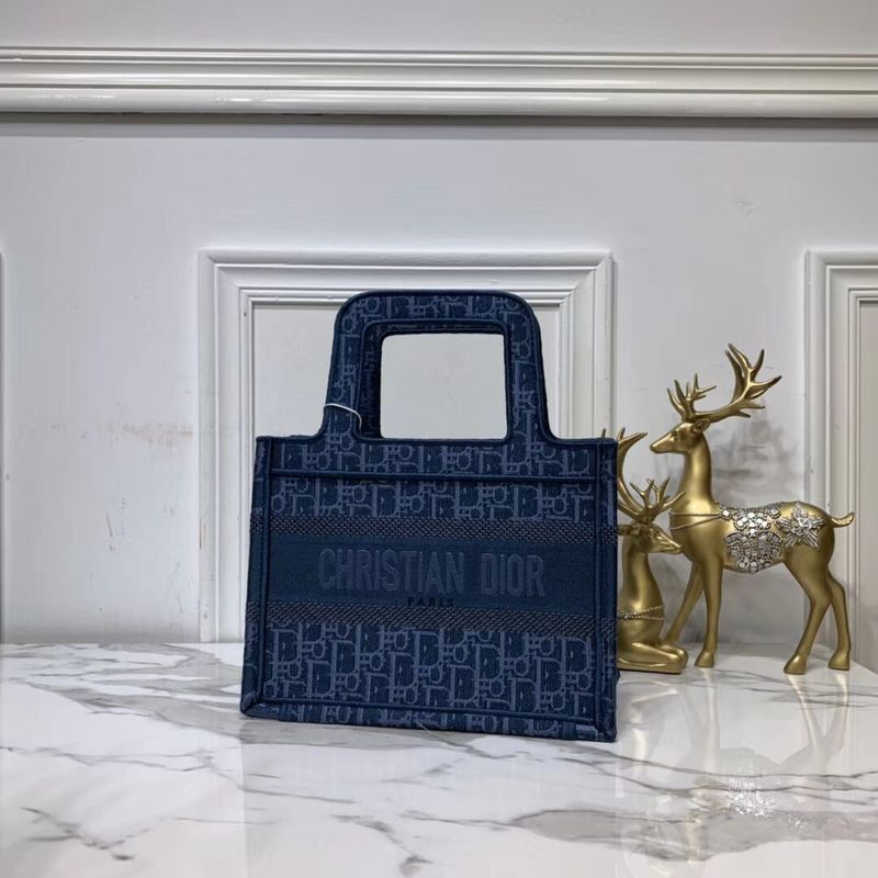 DIOR TOTE BAG IN EMBROIDERED CANVAS C0195 Blue