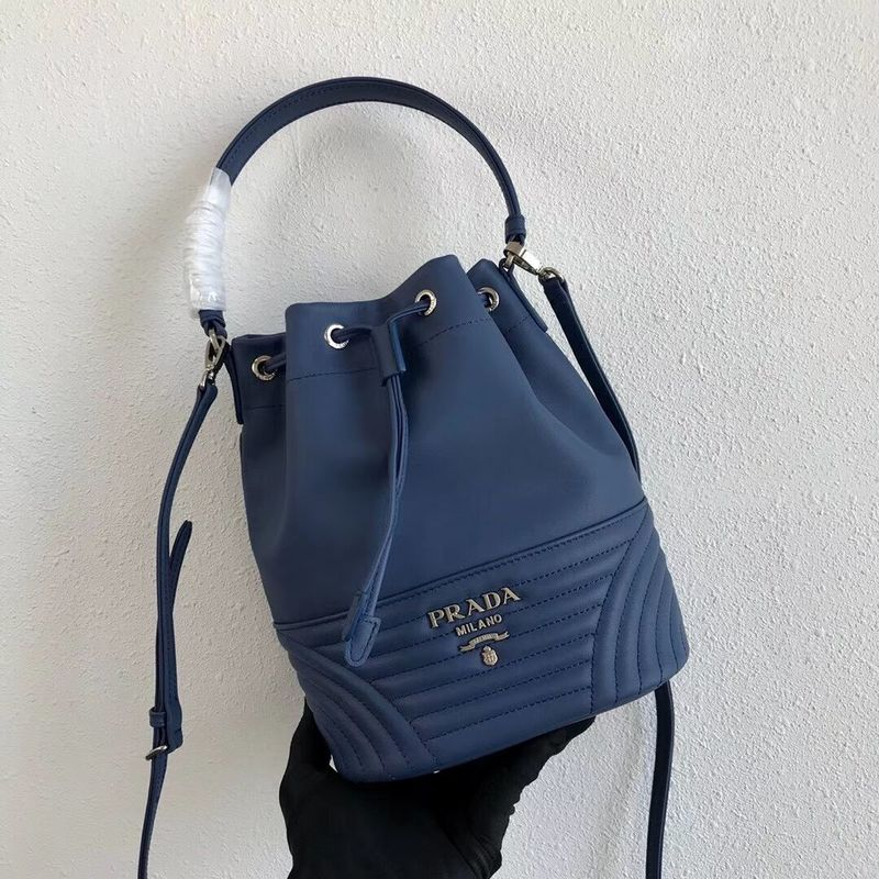 Prada Original Calfskin Leather Bucket Bag 1BH038 Blue