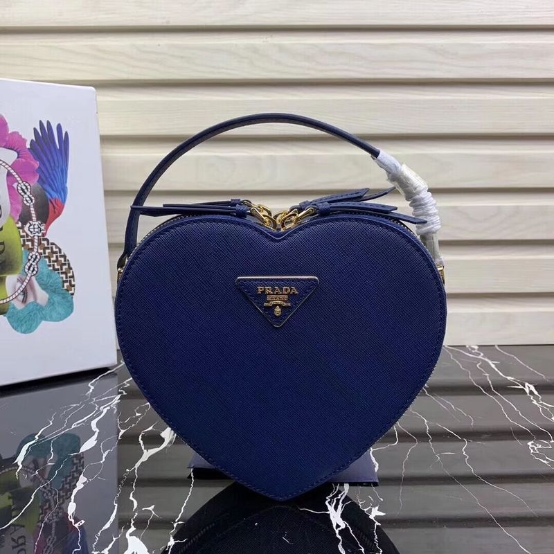 Prada Saffiano Original Leather Tote Heart Bag 1BH144 Blue