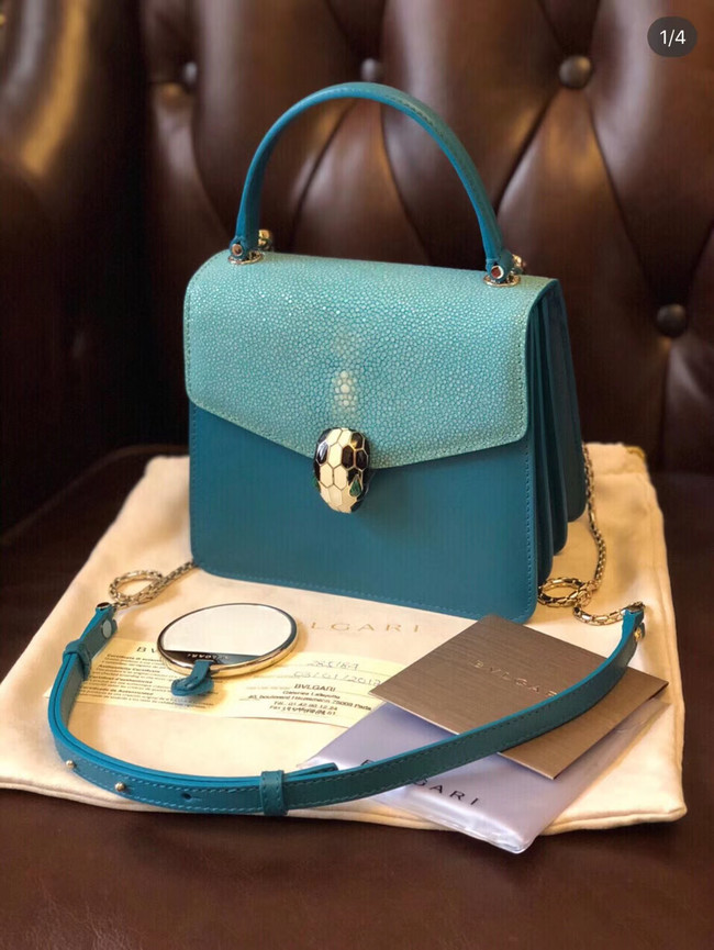 Bvlgari Serpenti Forever Pearl fish skin&Calfskin Leather small crossbody bag 288687 blue