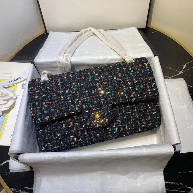 CHANEL Tweed Calfskin -Tone & Gold-Tone Metal 1112 dark blue