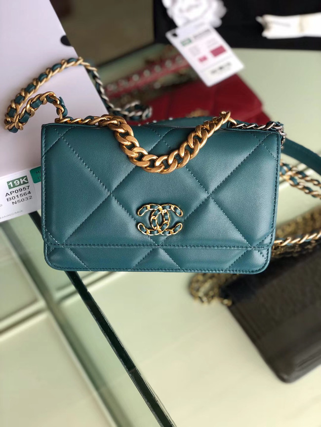 Chanel 19 Classic Sheepskin Leather Chain Wallet AP0957 blue & Gold-Tone Metal