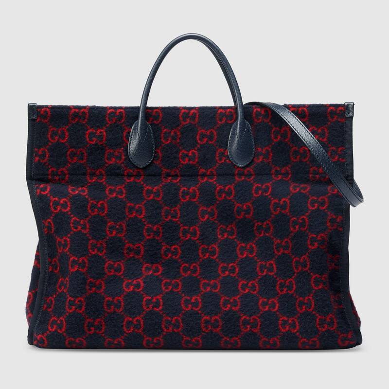 Gucci GG wool shopping bag 598169 Blue and red