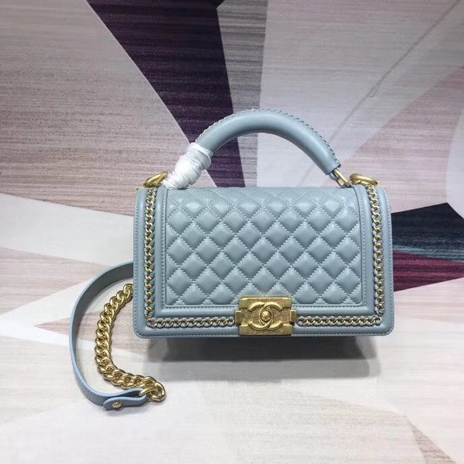 Chanel Leboy Original Calfskin leather Shoulder Bag H67086 light blue & gold -Tone Metal