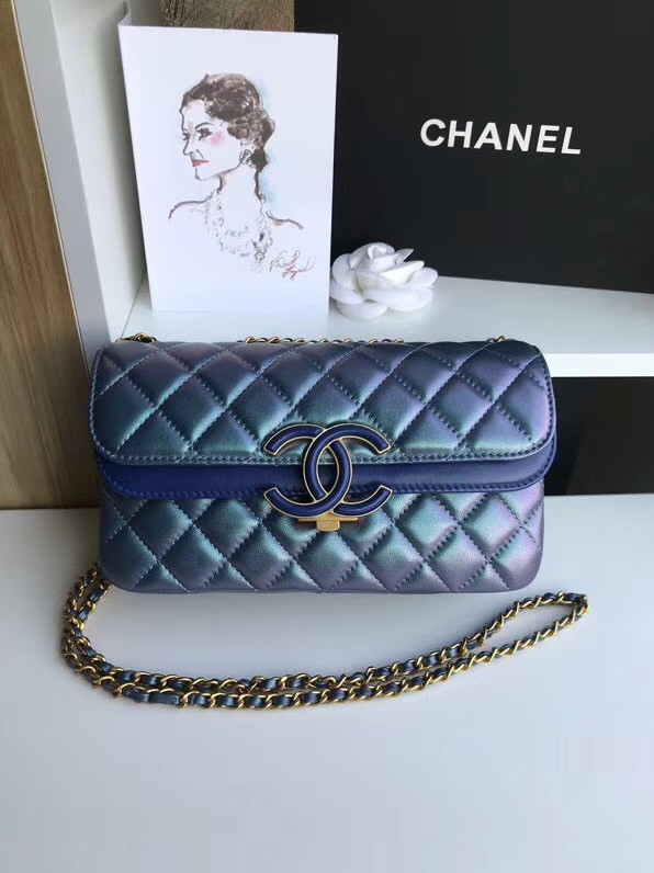 Chanel flap bag Lambskin & Gold-Tone Metal 57275 blue