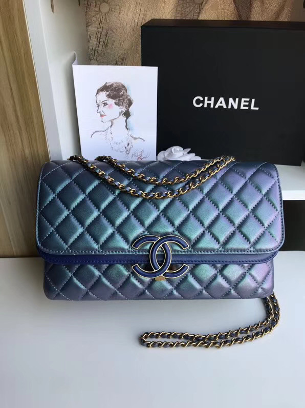 Chanel flap bag Lambskin & Gold-Tone Metal 57276 blue