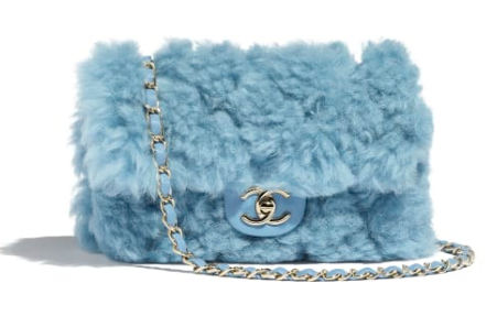 Chanel flap bag Wool sheepskin &Gold-Tone Metal AS1199 light blue