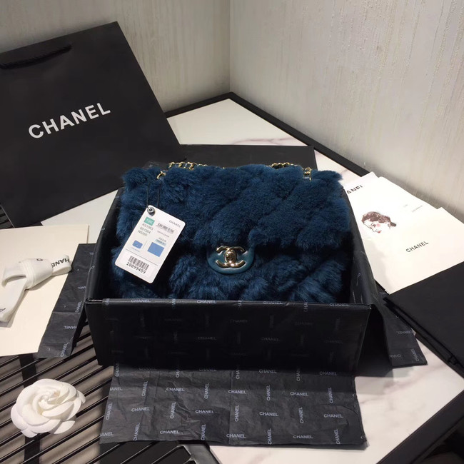 Chanel flap bag Wool sheepskin &Gold-Tone Metal AS1200 blue