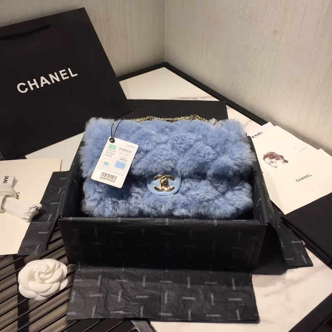 Chanel flap bag Wool sheepskin &Gold-Tone Metal AS1200 light blue