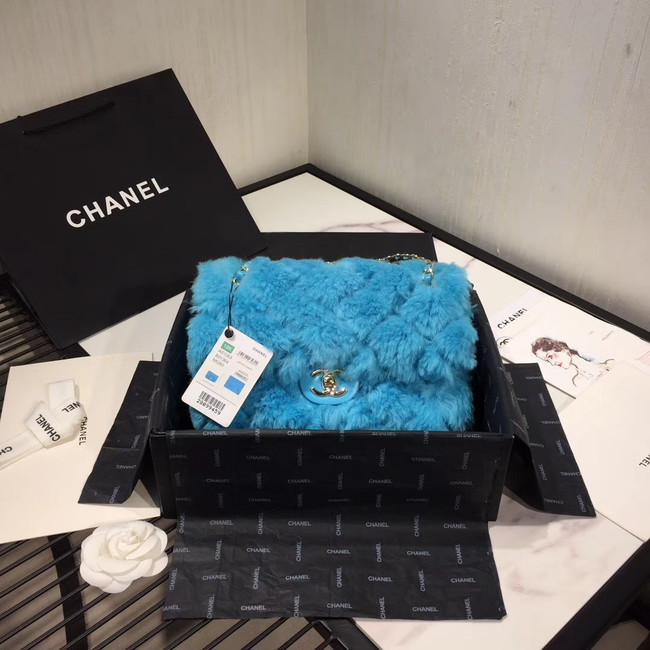 Chanel flap bag Wool sheepskin &Gold-Tone Metal AS1200 sky blue