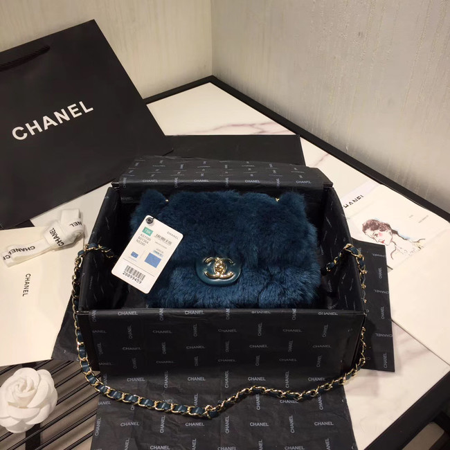 Chanel flap bag Wool sheepskin &Gold-Tone Metal AS1199 blue