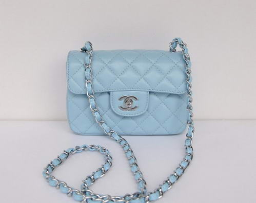 Chanel Classic mini Flap Bag Lambskin Leather 1115 Powder Blue