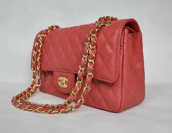 Chanel 2.55 Quilted Flap Bag 1112 Red with Gold Hardware