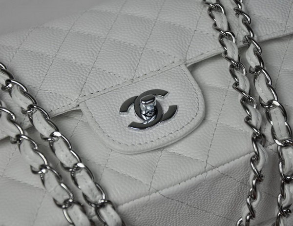 Chanel 2.55 Quilted Flap Bag 1112 White with Silver Hardware
