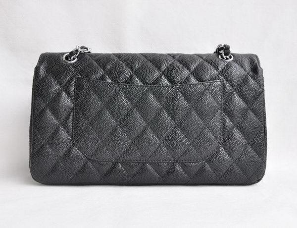 Chanel Classic 2 55 Series Black Caviar Silver Chain