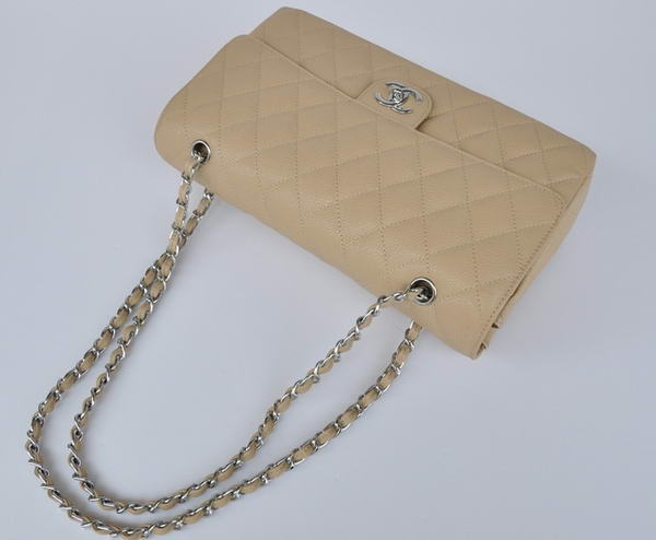 Cheap Chanel 2.55 Series Flap Bag 1113 Apricot Leather Silver Hardware